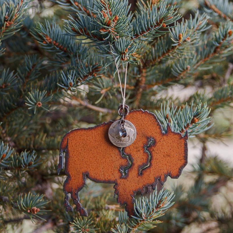 """Christmas in Montana"" Buffalo/Nickel Ornament #ORN3"