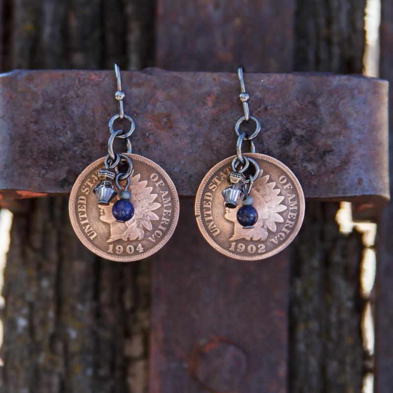 Native America Penny & Lapis Earrings #EW476-6