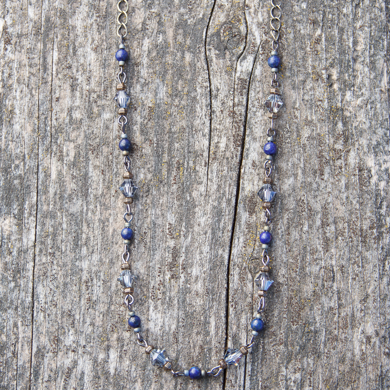 Lapis and Crystal Necklace #NC282-6
