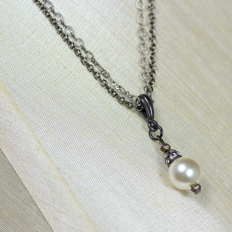 Vintage pearl double strand pearl pendant nc326 165 cool water vintage pearl double strand pearl pendant mozeypictures Images