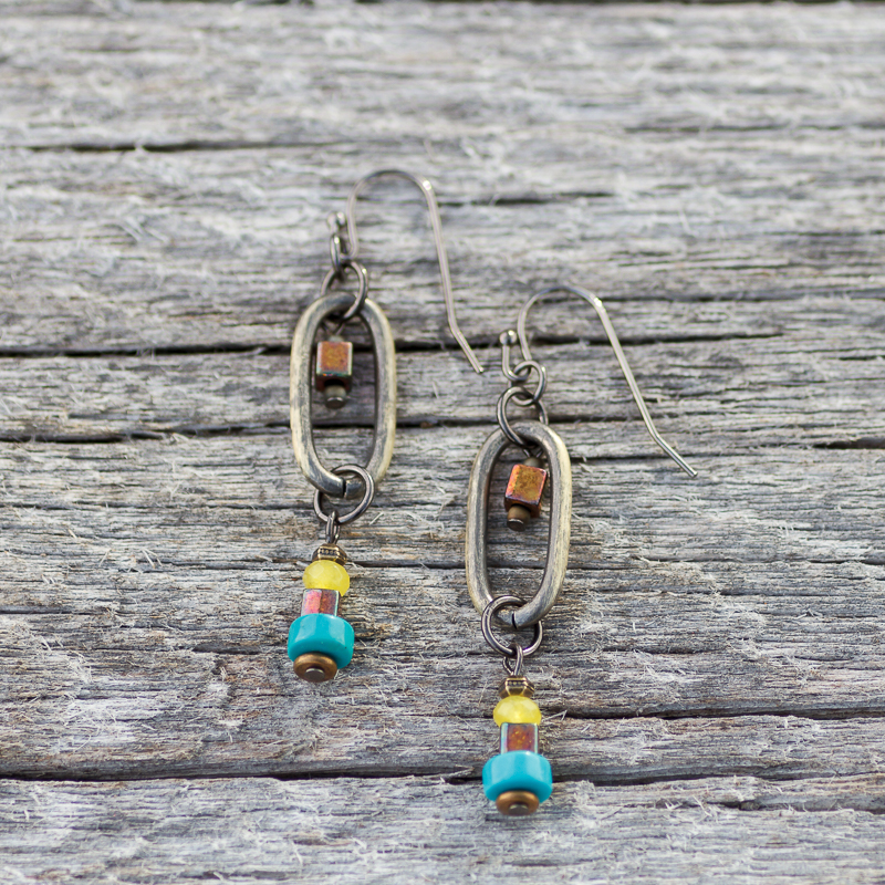 Front Range Brass Oval Turquoise Earrings #EW524-177