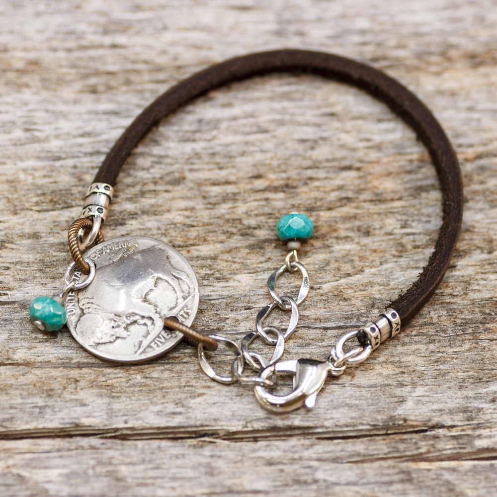 The Plains Buffalo Leather/Nickel/Turquoise Bracelet #BC73