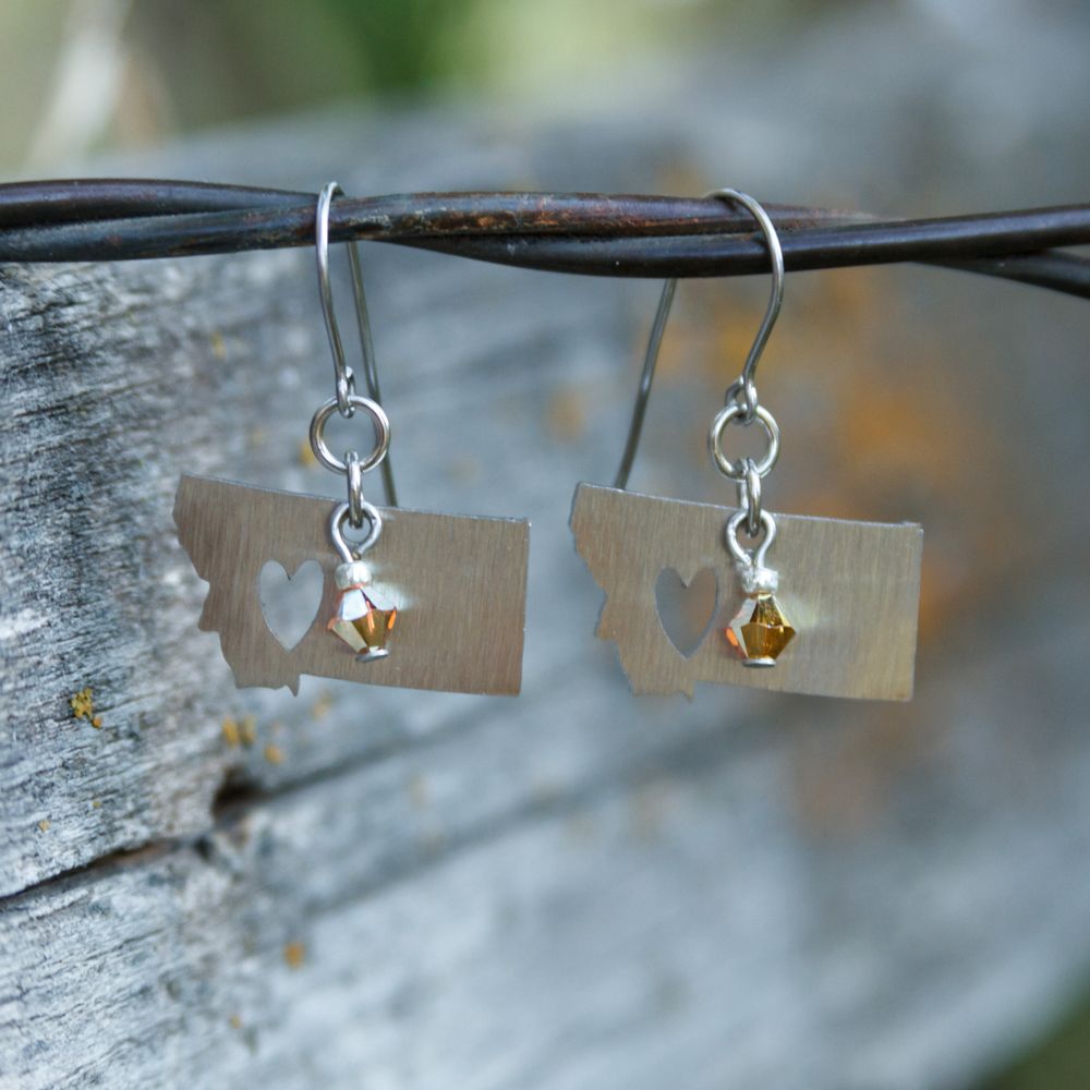 """Montana or Bust"" Sunshine Crystal Earrings #EW484-180"