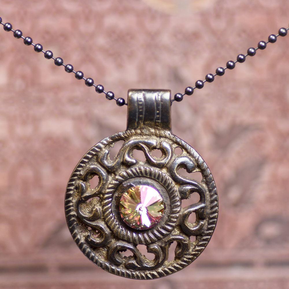 Rhubarb Cream Medallion Necklace #NC367-181