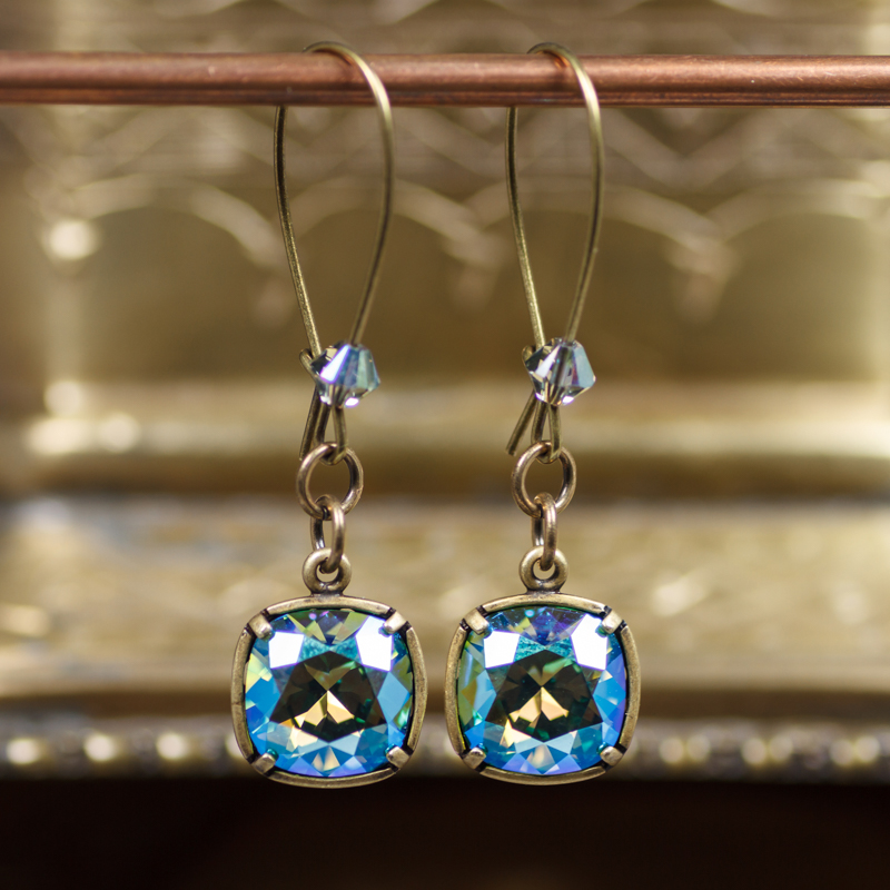 Deep Spring Cushion Crystal Earrings #EW557-183