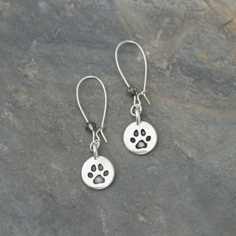 Paws and Tails Paw Print Kidney Earrings #EW564